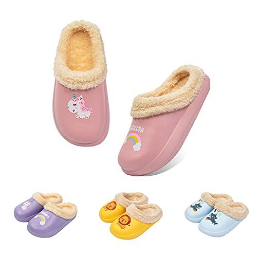 Guyarns Zapatillas de Estar por Casa para Niñas Niños Invierno Zapatillas de Interior Casa Caliente Pantuflas Suave Calentar Antideslizante Slippers(Rosa,190mm)