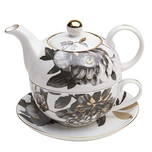 Grace Teaware Porcelain 4-Piece Tea For One (Black Gold Peony)