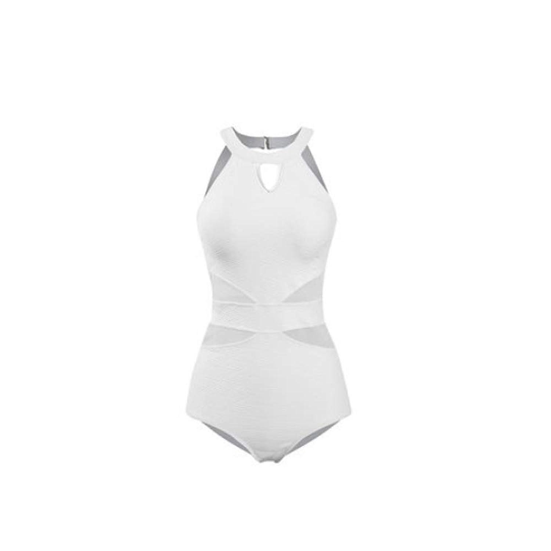 水着 - 背中の開いたセクシーなワンピース水着スリム水着 (色 : 白, サイズ さいず : XL)