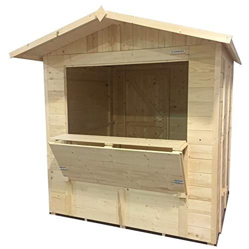 Home Idea Italia, Chiosco box in legno Market 222 x 250 cm 1 anta pavimento e ardesia inclusi
