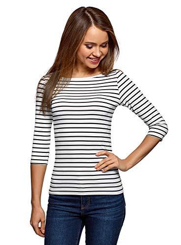oodji Collection Damen Gestreiftes T-Shirt mit 3/4-Ärmeln, Weiß, DE 38 / EU 40 / M