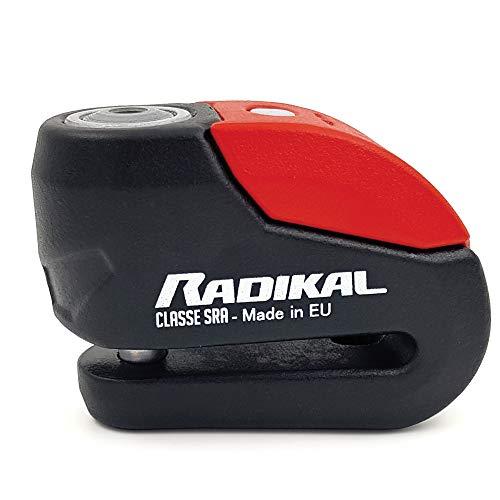 Radikal RK10 Candado Antirrobo Moto Disco Alarma 120 dB + Avisador Led Univesal, Alta Seguridad Homologado CLASSE Sra, Eje 10 mm, Made in EU
