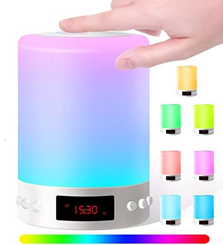 Lámpara de Altavoz Bluetooth, Lámpara de Noche Táctil 7 Colores 3 Luminosos,...