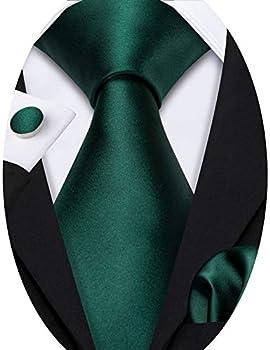 Satin Silk Green Ties for Wedding Business Necktie Set with Handkerchief Cufflink Solid Color St Patrick s Day