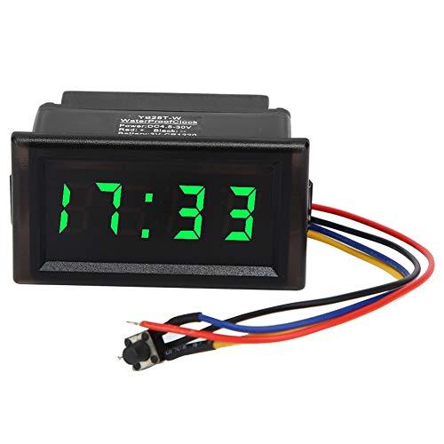 Reloj Digital para Coche, DC4.5-30V Impermeable a Prueba de Polvo Coche Auto Reloj Electrónico LED Pantalla Digital(Verde)