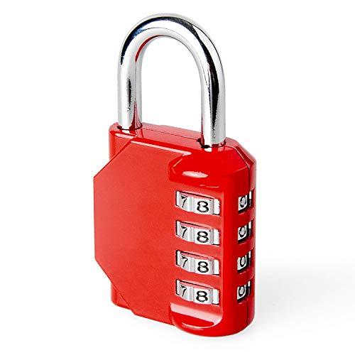 4-stelliges Passwort-Vorhängeschloss, Vorhängeschloss für Fitnessräume, Schließfach für Angestellte, Zaun, Schule, Werkzeugkasten, Ablage (1, Rot)