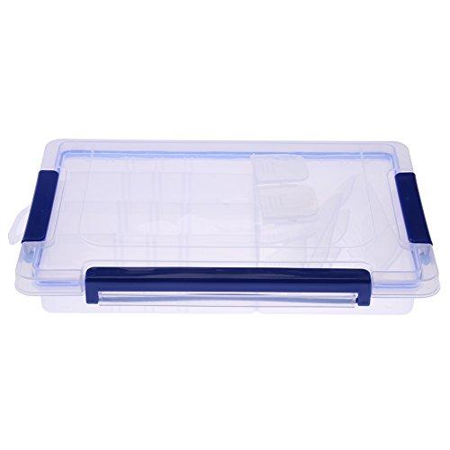 Boîte de Rangement Détachable en Plastique Transparent Bacs de Rangement Empilables Rectangulaires avec Poignées à Fermeture Bleue (Middle 20 compartments)