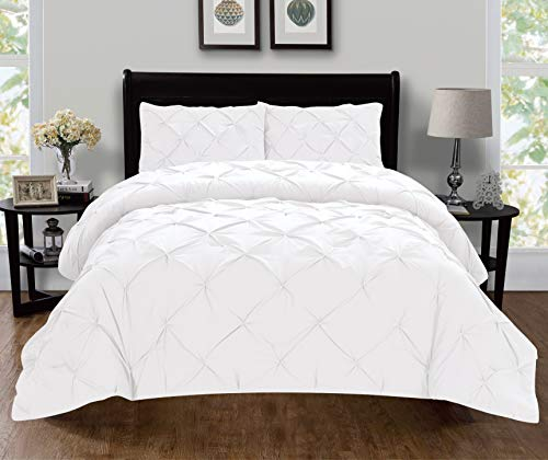 Elegant Comfort Luxury Super-Soft Coziest 1500 Thread Count Egyptian Quality 2-Piece Pintuck Design Duvet Cover Set, (Insert Comforter Protector) Wrinkle-Free, Twin/Twin XL, White