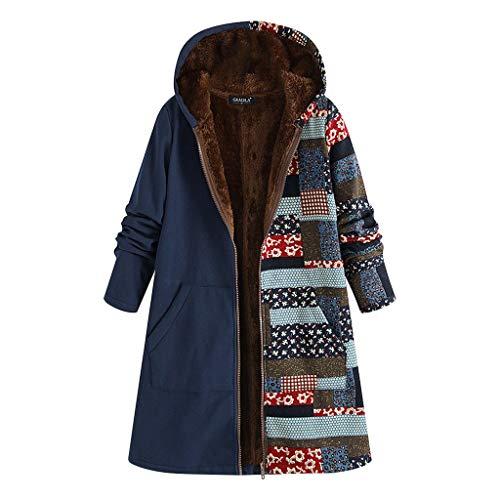 TOPKEAL Jacke Warme Mantel Damen Herbst Winter Sweatshirt Blumendruck mit Kapuze Kapuzenjacke Hoodie Taschen Pullover Übergroße Outwear Coats Mode Tops (Blau-1, M)