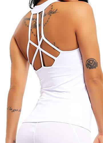 CROSS1946 Damen Sporttop Yoga Rückenfrei Oberteil Laufen Fitness Funktions Shirt Tank Tops Weiß M