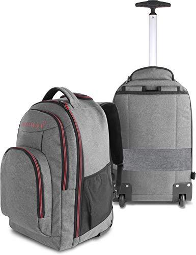 normani Rucksack mit Trolleyfunktion - 30 Liter Volumen Rucksacktrolley zum ziehen mit Laptopfach für Schule, Uni, Reisen, Ausflüge oder Einkaufen Farbe Rot