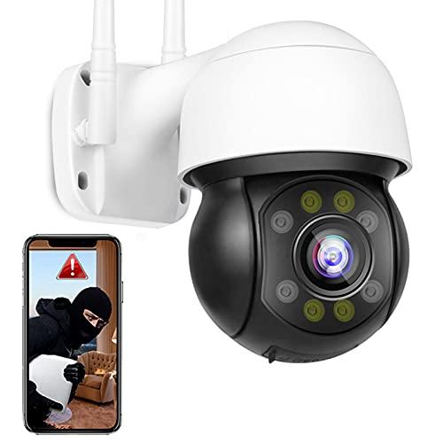 Cámara IP WiFi de Vigilancia Exteriores Super Seguimiento Automático Cámara PTZ HD 5MP,FTP Foto,Alarma de APP,Impermeable,Sonido de Alarma,HD Visión Nocturna Color,Detección de Movimiento 【Cámara+64G】
