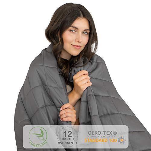 Dreamzie - Gewichtsdecke 140x200cm geeignet für Bett 140x200-6 kg - Oeko-TEX® Zertifizierte Therapiedecke Chemikalienfrei mit Bambusfaserbezug - Reduziert Stress und Angstattacken