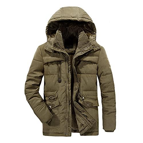 Chaqueta de invierno para hombre, informal, gruesa, para exteriores, con capucha extraíble, caqui, L