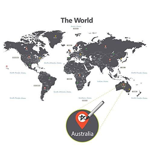 DECOWALL DLT-1609G Moderne Graue Weltkarte Wandtattoo Wandsticker Wandaufkleber Wanddeko für Wohnzimmer Schlafzimmer Kinderzimmer (Extra Groß) (Englisch Ver.)