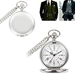 Smooth Vintage Steel Quartz Pocket Watch Classic Fob Pocket Watch with Short Chain for Men Women - Gift for Birthday Anniversary Day Christmas Fathers Day (Silver) #1