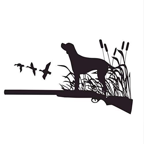 Muursticker Art Decor muursticker verwijderbaar waterdicht behang een hond staande op een geweer keek vogels muur Stickers H decoratie muurstickers Vinyl lijm Stickers 59X101 cm