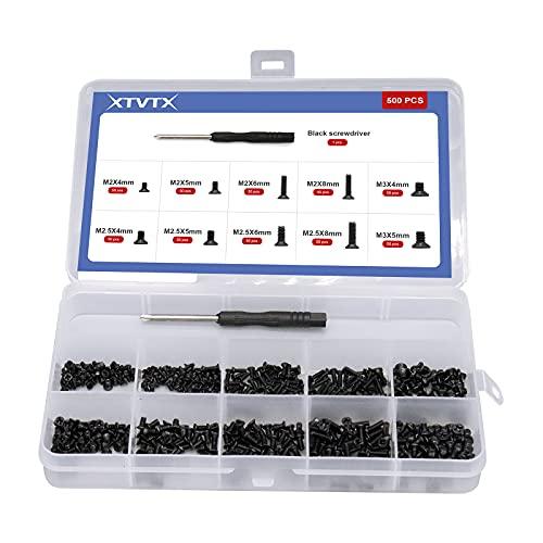 XTVTX 500PCS 10 dimensioni Kit di viti per computer portatile notebook Viti del computer portatile Set assortimento Accessori per la riparazione del computer per laptop universale (M2 M2,5 M3)