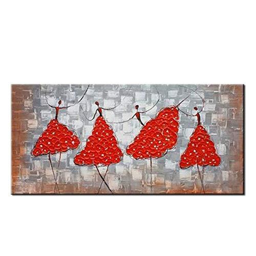Schilderij olieverfschilderij op canvas, modern, ballerina's uit de lijn rode inferior grijze kunst voor de decoratie van woonkamers 40×80cm