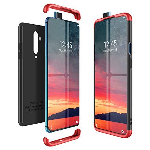 CE-LINK pour Coque OnePlus 7T Pro Case Housse Etui en PC Matière 3 en 1 Dur Anti-Rayures Mat PC Couverture 360 Degrés Protecteur Très Mince Solide Cover - Rouge + Noir