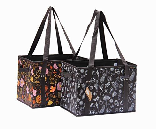 PreserveNext Wiederverwendbare klassische Einkaufstasche/Faltbox Set mit verstärktem Boden, seitlichen Griffen und Schlüsselringverschluss 2er-Pack – Braun gemischt.