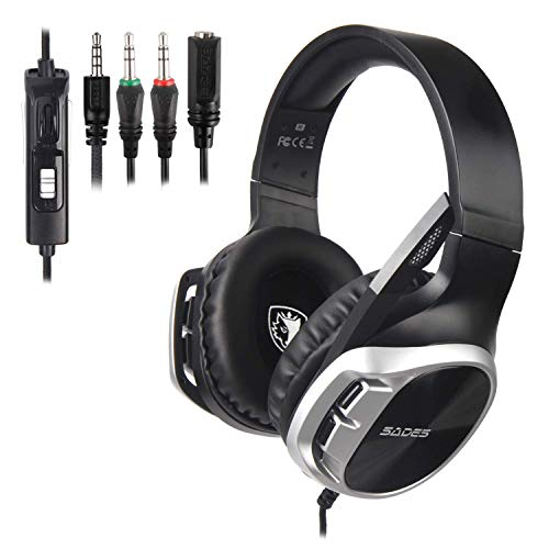 SADES Gaming Headset, PS4 Gaming Headset, Over Ear Gaming Headphones with Noise Canceling Microphone, Stereo Gaming Headset for PS4 Controller, Xbox One, PC, Laptop (Black&Silver)