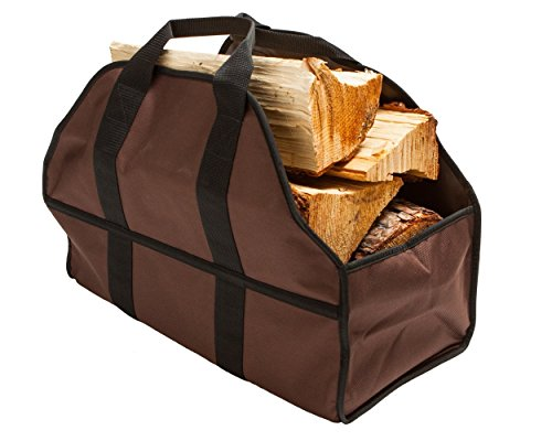 """Egooz Large Firewood Log Carrier, Durable Canvas Tote Bag for Carrying Wood - Simple, Easy use, Close End - keeps mess inside the carrier, 24""""X12""""X10""""(Brown)"""