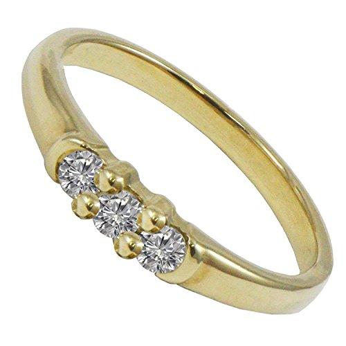 Bjc oro giallo 9ct diamante 0.15ct Trilogy misura N fidanzamento anello abito R81