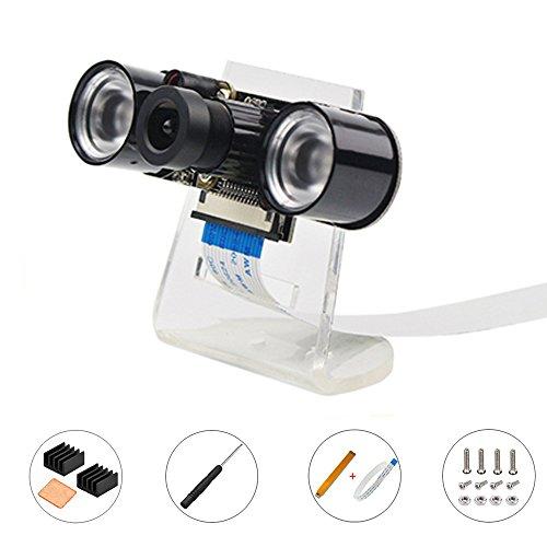 para La Cámara Raspberry Pi Cámara de Visión Nocturna por Infrarrojos Cámara Webcam Módulo 5MP 1080P con Cable Flex y Soporte para Raspberry Pi 3 b + y Raspberry Pi Zero