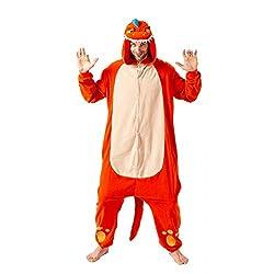 6. Spooktacular Creations Orange Plush Adult Dinosaur Onesie