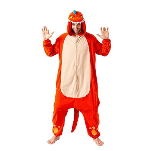 Spooktacular Creations Unisex Adult Pajama Plush Onesie One Piece Orange Dinosaur Animal Costume (Small)