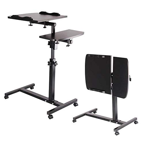 Portable Laptop Desk Table Stand Lap, Standing Angle&Height Adjustable Computer Desk, Movable with Wheels, Portable Side Table for Bed Sofa PC Notebook Study work(Black)