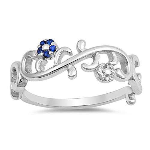 Sterling Silver Simulated Blue Sapphire Cz Flower & Leaves Design Ring Sizes 7