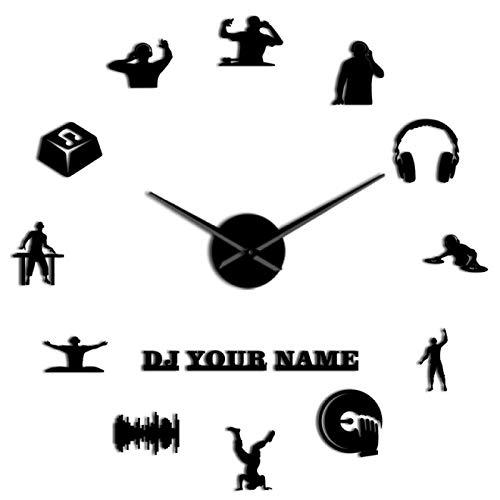 yage Nombre de DJ Personalizado DIY Reloj de Pared Grande Fiesta Club Nocturno Disc Jockey Decoración Reloj de Pared contemporáneo Mezclador de música DJ Personalizado Regalo