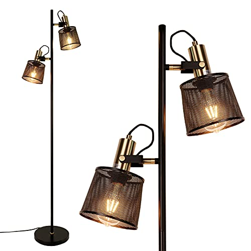 Newrays Lámparas de pie de red de metal de hierro negro retro industrial de 2 vías con enchufe de interruptor ajustable para sala de estar dormitorio oficina