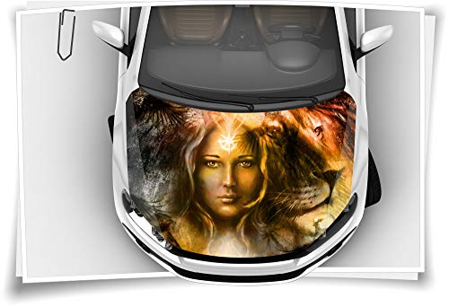 Medianlux Motorhaube Auto-Aufkleber Löwe Mystik Frau Tattoo Mandala Indianer Steinschlag-Schutz-Folie Airbrush Tuning Car-Wrapping Luftkanalfolie Digitaldruck Folierung
