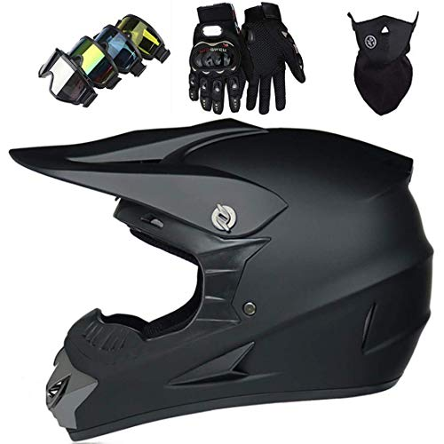Casco MTB integral para niños y adultos, Casco de motocross Off Road Pro Sport con gafas, máscara, guantes para bicicleta de tierra eléctrica MX ATV Quad Crash, Aprobado por DOT