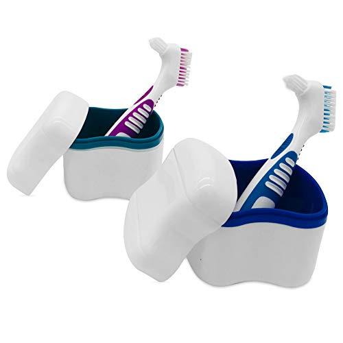 Prothesen-Etui, Zahnersatz-Becher, Zahnersatz-Behälter, Zahnersatz-Behälter mit abnehmbarem Siebkorbhalter mit Zahnbürste