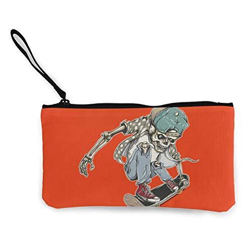 Geldbörse mit Totenkopf-Skateboard Kris The Barber Canvas Cash Coin Purse Zipper Wristlets Wallet Makeup Bags for Women and Girls