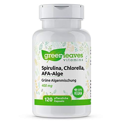 Greenleaves Vitamins - Spirulina, Chlorella, AFA-Alge 120 Vegan Kapseln 400 mg