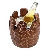 Cubo Hielo Vintage Duradero,Cubo champán para Vino Cubo Madera Maciza Doble Pared Cubo Bebida Barril Cerveza Barra Hielo Contenedor Vino Enfriador(Color:Marrón,Tamaño:20x20cm(8x8 Pulgadas))