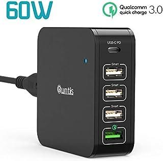 Quntis Cargador de Pared USB C 60W, 5 Puertos 60W Power Delivery 3.0 & 18W Quick Charge 3.0 Compatible con MacBook Air 2018, iPad Pro 2018, iPhone XS/MAX/XR/X/8, Galaxy con EU Cable Alimentación 1,5M