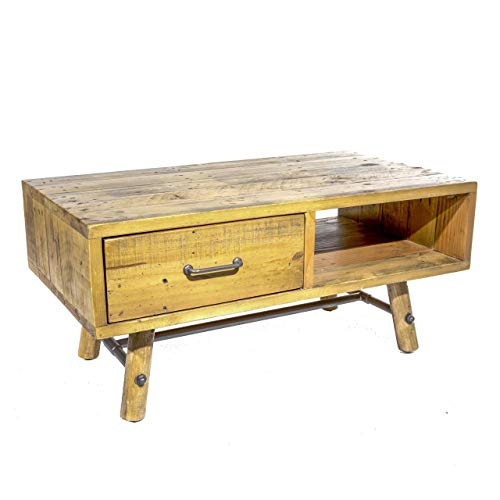 BB Furniture Crofter Couchtisch, Kiefernholz, 1 Schublade, rustikal, industriell