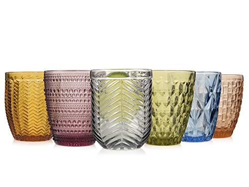 Sänger Gläser Set Porto 6 teilig - Füllmenge je Glas variabel bei ca 310 ml – Mehrfarbig und transparent – jedes Glas mit einzigartigem Schliff, Pastellfarben, besonderes Lichtspiel