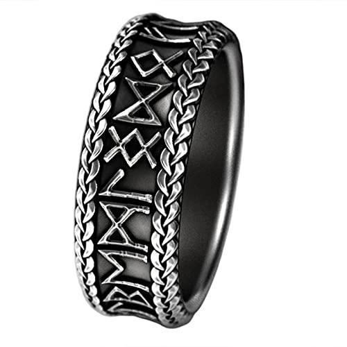 LCUK Joyas Anillos de Hombre Vikingo Anillo de Sello con Letras de runas BodaVintage Hombres Accesorios de joyería Regalo para Hombres