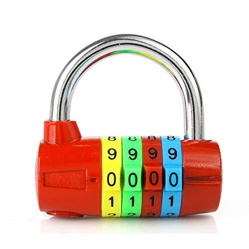 Candado de combinación de 4 dígitos, colorido dial de seguridad con contraseña...