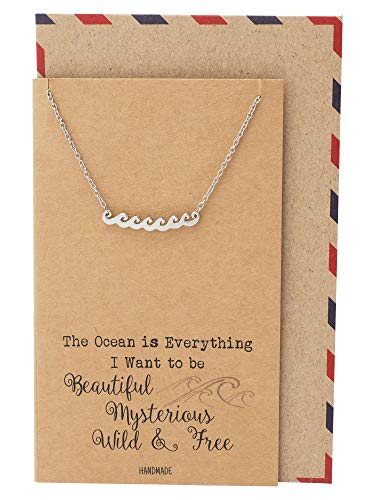 Quan Jewelry Ocean Waves Beach Necklace, Gifts for Surfer, Beach Lover Wanderlust Traveler Pendant Charm, Comes with Handmade Inspirational Quote, Gifts for Beach Goer, Silver Tone