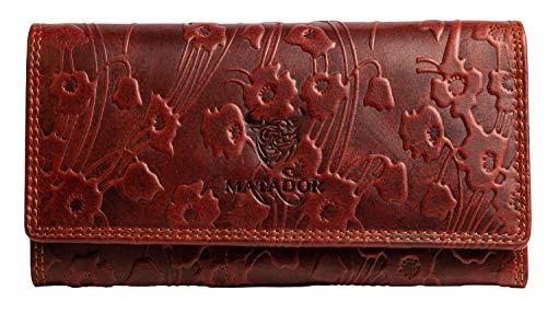 MATADOR Damen Langbörse TÜV Geprüfter RFID & NFC Schutz Leder Geldbörse Blumenmuster Vintage Antik Braun