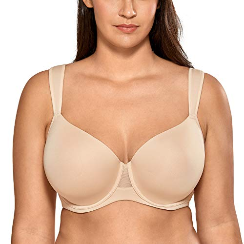 AISILIN Women's Plus Size Bras T-Shirt Lightly Lined Full Coverage Comfort Wide Strap Beige 36F