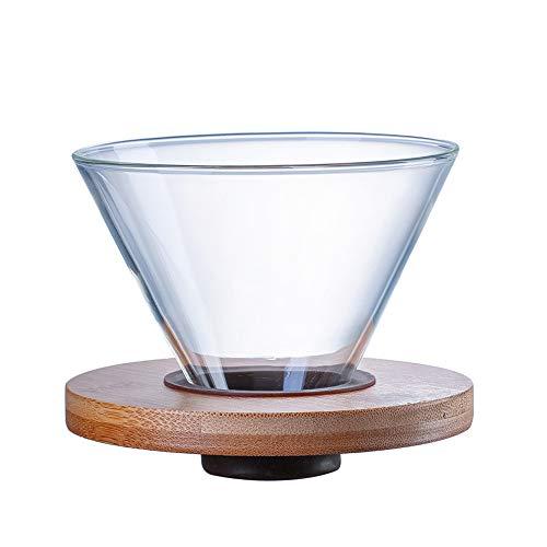 Hosoncovy Porte-filtre à café en verre transparent avec coussin en bois